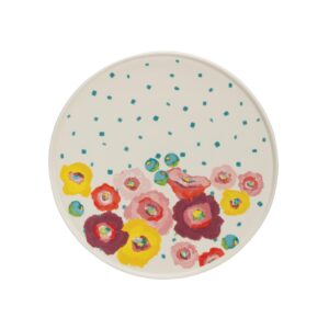 3R Studios Single-Tier White Stoneware Cake Stand with Multicolor Flowers