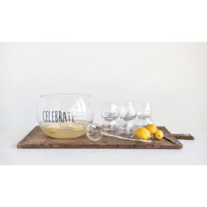 """3R Studios 6.5 qt. Clear Glass """"Celebrate"""" Punch Bowl with Ladle and 8 Glasses"""
