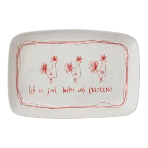 """3R Studios """"Life is Just Better with Chickens"""" Stoneware Platter"""