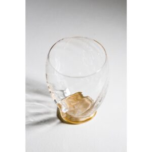 Abigails Elisa Water Glass, Clear with Gold