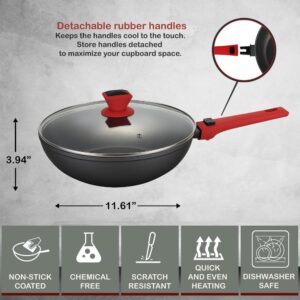 AMERCOOK 11 in. Scratch Resistant Aluminum Round Wok and Lid with Detachable Handle