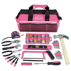 Apollo Home Tool Kit in Soft-Sided Tool Bag, Pink (201-Piece)