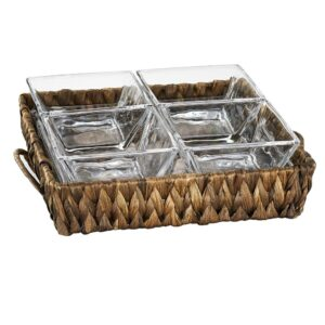 Artland Garden Terrace 4 Sectional Server 1 sq.Glass Tray 7.75 in. ,1 in. H, 4 sq. Glass Bowls 3.75 in. , Water Hyacinth Holder