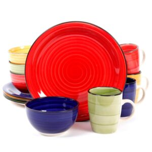 Gibson Color Speckle 12-Piece Rustic Assorted Stoneware Dinnerware Set (Service for 4)