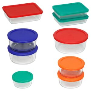 Pyrex Simply Store 18-Piece Glass Storage Set with Assorted Colored Lids