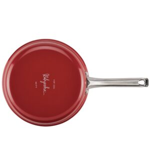 Ayesha Curry Home Collection 3 qt. Aluminum Nonstick Saute Pan in Sienna Red with Glass Lid