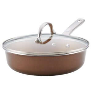 Ayesha Curry Home Collection 3 qt. Aluminum Nonstick Saute Pan in Brown Sugar with Glass Lid