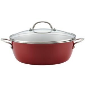 Ayesha Curry Home Collection 7.5 qt. Aluminum Nonstick Stock Pot in Sienna Red with Glass Lid