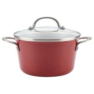 Ayesha Curry Home Collection 4.5 Qt. Porcelain Enamel Nonstick Covered Saucepot in Sienna Red