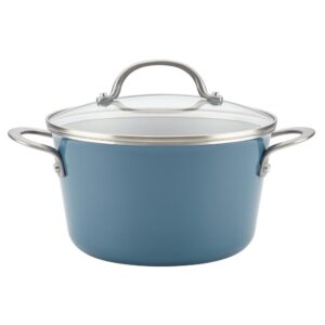 Ayesha Curry Home Collection 4.5 Qt. Twilight Teal Porcelain Enamel Non-Stick Covered Saucepot
