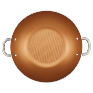 Ayesha Curry Home Collection 14 in. Porcelain Enamel Nonstick Wok in Brown Sugar