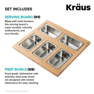 KRAUS 16.75 in. Workstation Kitchen Sink Serving Board Set with Stainless Steel Mixing Bowl and Colander