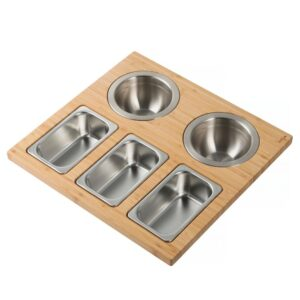 KRAUS 16.75 in. Workstation Kitchen Sink Composite Serving Board Set with Stainless Steel Bowls