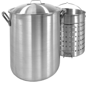 Bayou Classic 100 qt. Aluminum Stock Pot in Silver with Lid