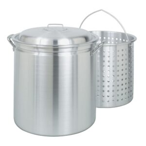 Bayou Classic 60 qt. Aluminum Stock Pot in Silver with Lid