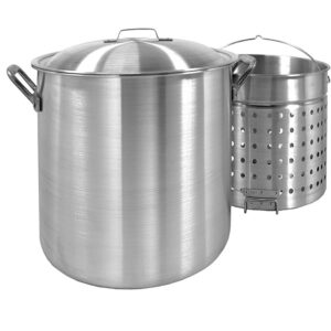 Bayou Classic 80 qt. Aluminum Stock Pot in Silver with Lid