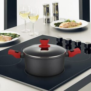 AMERCOOK 8.7 in. Round 3I Casserole Pan and Glass Lid with Detachable Handle