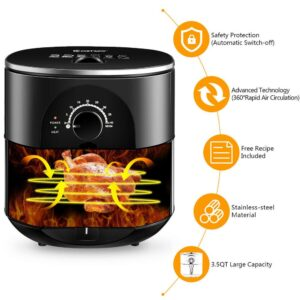 Costway 3.5 Qt. Electric Stainless Steel Air Fryer Oven Oilless Cooker 1300-Watts Auto Shut Off