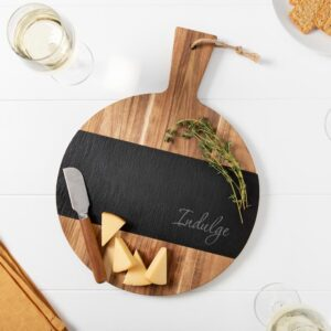 Cathy's Concepts Indulge Round Acacia and Slate Board
