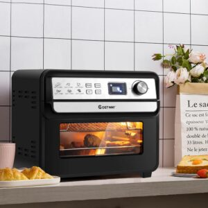 Costway 23 qt. Black 12-in-1 Air Fryer Oven with Rotisserie