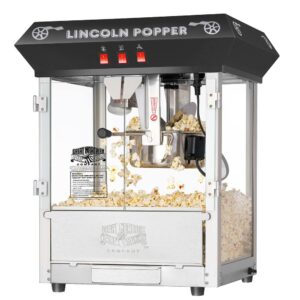 Great Northern Black Lincoln Countertop Popcorn Machine- Popper Makes 3 Gallons- 8-Ounce Kettle, Old Maids Drawer, Warming Tray & Scoop