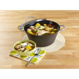 IMUSA 6 qt. Round Cast Iron Dutch Oven in Black with Glass Lid