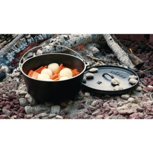 Lodge Camp 6 qt. Round Cast Iron Dutch Oven in Black with Lid