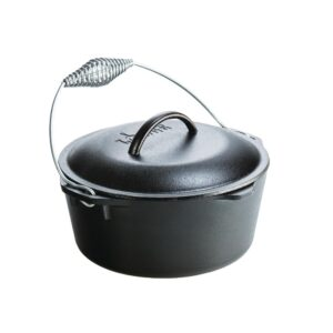 Lodge 5 Qt. Cast Iron Dutch Oven with Lid and Spiral Bail Handle