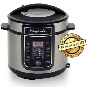 MegaChef 6 Qt. Black Electric Pressure Cooker with Built-In Timer