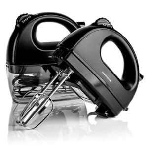 Ovente 5-Speed Hand Mixer Stainless Steel Chrome Beaters and Free Snap-On Case, 150W, Black