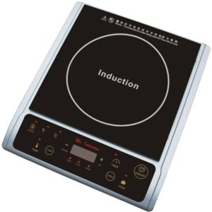 SPT Single Burner 7.25 in. Black and Silver Induction Hot Plate