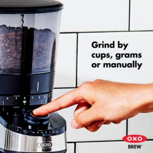 OXO 12 oz. Black Stainless Steel Burr Coffee Grinder with Integrated Scale