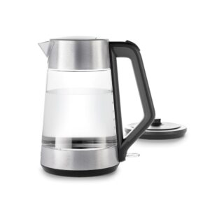 OXO 7.4-Cup Black Stainless Steel Cordless Electric Kettle with Automatic Shut-off