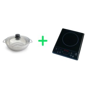 SPT 1300-Watts 7.5 in. Single Burner Induction Cooker (Black) with 3.5L Induction Ready Stainless Steel Pot w/ Glass Lid
