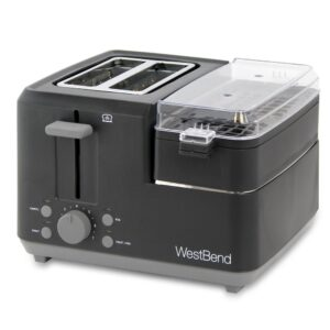 West Bend Breakfast Station 2-Slice Black Wide Slot Toaster with Removable Crumb Tray