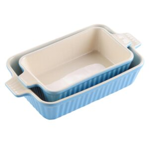 MALACASA 2-Piece Blue Rectangle Porcelain Bakeware Set 12 in. and 13 in. Baking Dishes