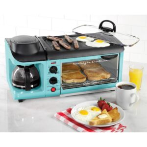 Nostalgia Retro Breakfast Center 1500 W 4-Slice Blue Toaster Oven with Built-In Timer