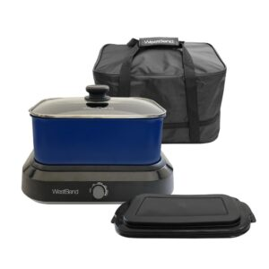West Bend 5 qt. Blue Non-Stick Versatility Slow Cooker with 5-Temperature Settings Includes Travel Lid and Thermal Tote
