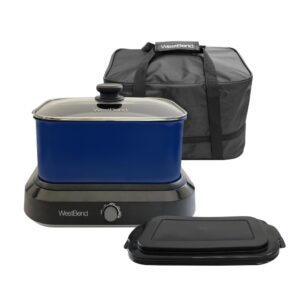 West Bend 6 qt. Blue Non-Stick Versatility Slow Cooker with 5-Temperature Settings Includes Travel Lid and Thermal Tote
