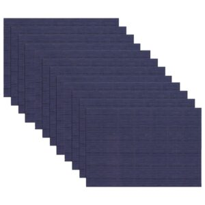 RITZ 19 in. x 13 in. Grass Cloth Blue Reversible PVC and Polyester Woven Indoor Outdoor Placemats (Set of 12)