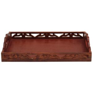 Benzara Carved Brown Wooden Serving Tray with Handles
