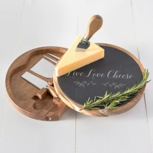 Cathy's Concepts Live Love Cheese 5 Piece Slate and Acacia Cheese Board with Cheese Utensils