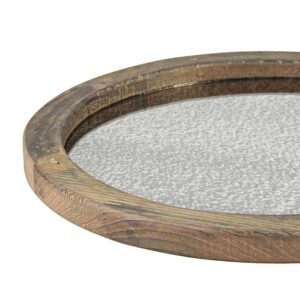 Stonebriar Collection Brown Rustic Wood and Antique Mirror Serving Tray