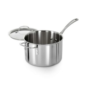 Calphalon Tri-Ply 4.5 qt. Aluminum Sauce Pan in Stainless Steel with Glass Lid