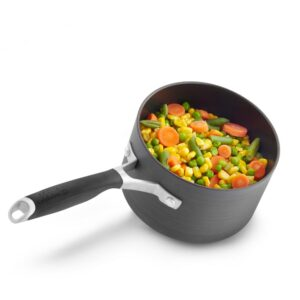 Calphalon Select 1.5 qt. Hard-Anodized Aluminum Nonstick Sauce Pan in Black with Glass Lid