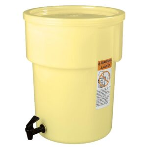 Carlisle 5 gal. Polyethylene Round Beverage Dispenser with Lid and Faucet in Yellow