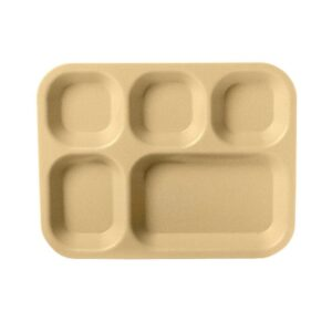 Carlisle 5 Compartment 13.75 in. x 10.63 in. Polycarbonate Cafeteria Tray in Tan (Case of 24)