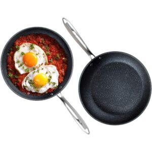 GRANITESTONE Pro 10 in. and 11.5 in. Aluminum Ultra-Nonstick Hard Anodized Diamond Infused Induction Capable Fry Pan Set (2-Piece)