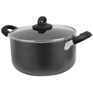Oster Clairborne 6 qt. Round Aluminum Nonstick Dutch Oven in Charcoal Gray with Glass Lid