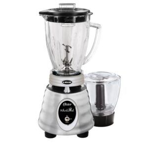 Oster Whirlwind Heritage Blend 48 oz. 1000 Plus 2 Speed Blender in Chrome with Food Processor and Glass Blender Jar